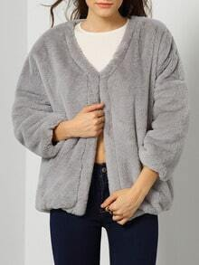 Grey Long Sleeve Loose Crop Coat