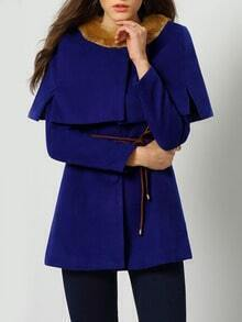 Blue Faux Fur Collar Single Breasted Coat With Cape