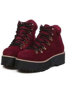 Burgundy Round Toe Suede Boots