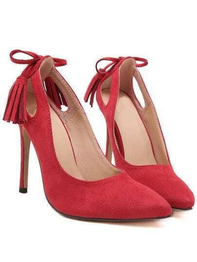 Red Stiletto High Heel Tassel Pumps