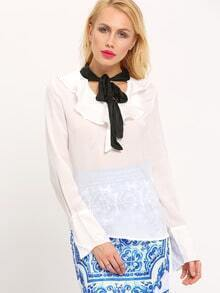 White Long Sleeve Ruffle Blouse