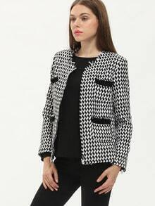 Black White Long Sleeve Houndstooth Coat