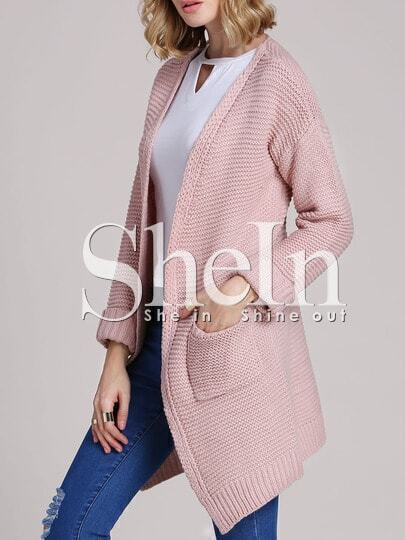 Pink Long Sleeve Pockets Cardigan