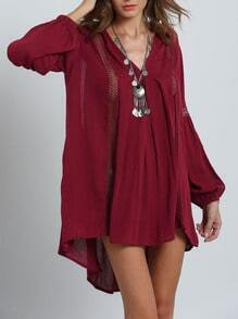 Burgundy Long Sleeve High Low Hollow Dress