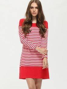 Red White Long Sleeve Striped Dress