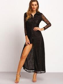 Black Long Sleeve Lapel With Lace Split Maxi Dress