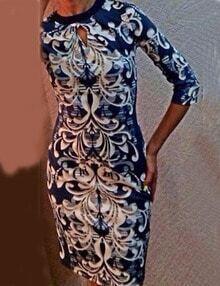 Blue Keyhole Neckline Print Pencil Dress