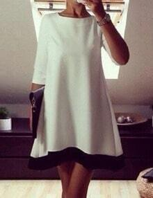 White Three Quarter sleeve Shift Dress