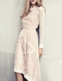 White Lace Embroidery High Low Dress