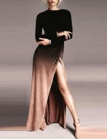 Ombre Black Split Wrapped Maxi Dress