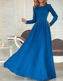 Blue Round Neck V Cut Out Sashed Maxi Dress