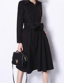 Black Knee Length Shirt Dress With Waistband