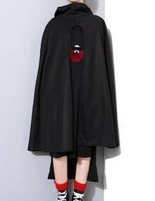 Black Cut Out Front Oversized Hooded Cape