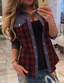 Red Plaid Shirt With Contrast Patches And Trims