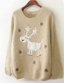 Beige Christmas Moose Snowflake Print Sweater