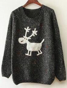 Black Christmas Moose Snowflake Print Sweater