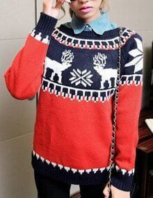 Mulit Color Christmas Moose Snowflake Patterned Sweater