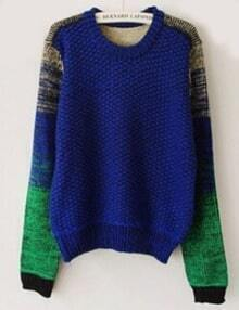 Blue Sweater With Ombre Sleeves