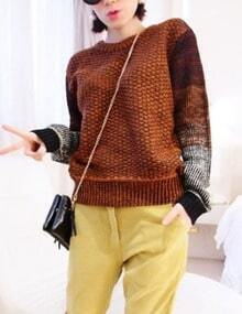 Brown Sweater With Ombre Sleeves