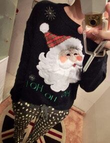 Women Black Santa Claus Print Sweater