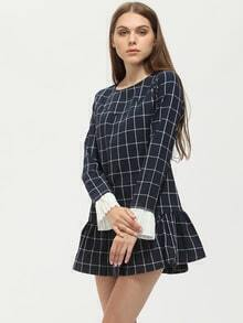 Blue Long Sleeve Plaid Ruffle Dress