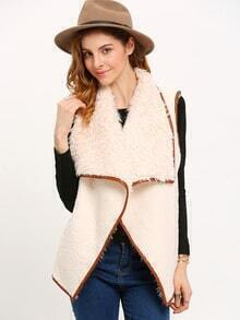 Apricot Sleeveless Faux Fur Coat
