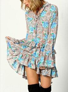 Multicolor Long Sleeve Vintage Print Ruffle Dress