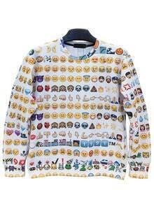 Color Round Neck Emoji Emoticonos Sweatshirt
