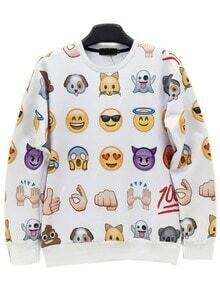 White Round Neck Emoji Emoticonos Sweatshirt