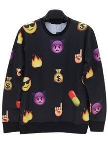 Black Round Neck Emoji Emoticonos Sweatshirt