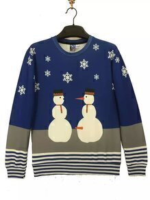 Color-black Snowman Print Striped Sweatshirt