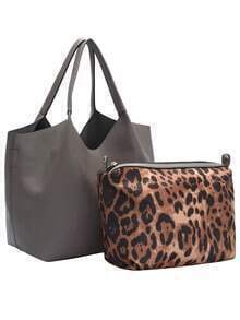 Grey Leopard Two Pieces Tote Bag