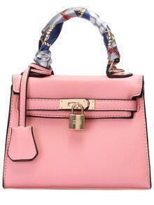 Pink Twist Lock PU Shoulder Bag