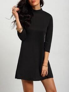 Black High Neck Ruched Loose Dress