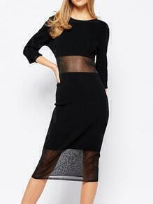 Black Round Neck Sheer Mesh Slim Dress