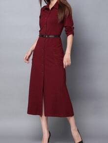 Red Lapel Buttons Pockets Slim Dress