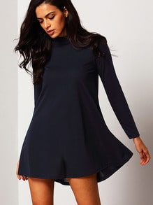Navy Stand Collar Long Sleeve Loose Dress