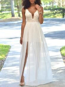White V Neck Sleeveless Lace Backless Dress