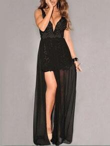 Black V Neck Sleeveless Lace Backless Dress