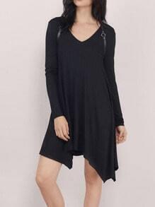 Black V Neck Long Sleeve Asymmetrical Dress
