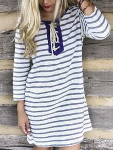 Blue White Long Sleeve Striped Lace Up Dress