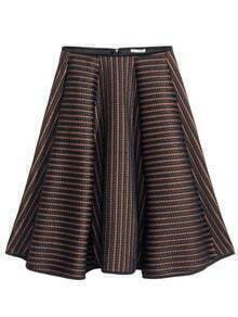 Black High Waist Hollow Striped Skirt
