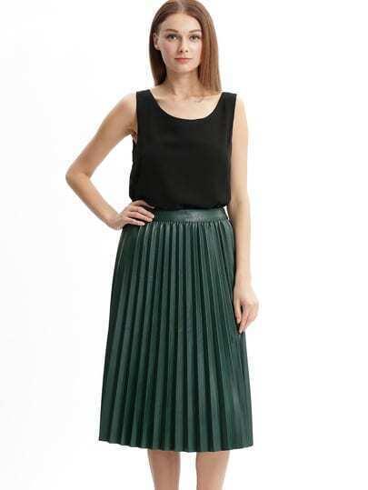 Зелёная кожаная плиссированная длинная юбка