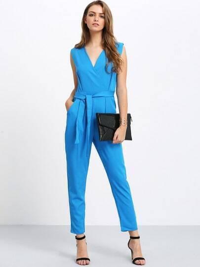 Blue V Neck Sleeveless Bow Back Jumpsuit