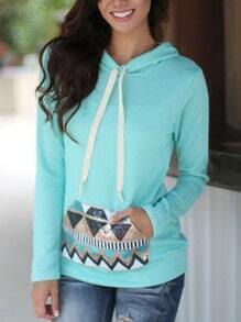 Blue Hooded Sequined Geometric Patterned Sweatshirt
