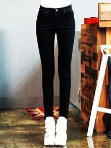 Black Slim Button Denim Pant