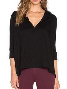 Black Hooded Split Loose T-Shirt