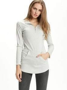 Grey Long Sleeve Zipper Pockets T-Shirt