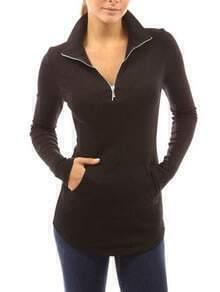 Black Long Sleeve Zipper Pockets T-Shirt