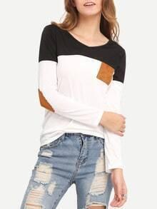 Colour-block V Neck Elbow Patch T-Shirt